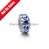 Stamped 925 Sterling Silver Loose Spacer Charm Beads, With Sapphire Crystal Fit European Thread Charm Bracelet XS032C