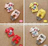 2013 Summer Minnie Mouse suit  t-shirt + striped pants Children Clothing Kids Brand Clothes