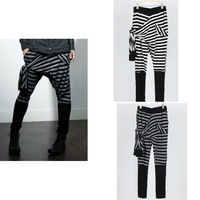 Hot Men's Zebra Striped Pattern Print Rope Design Elastic Stretchy Harem Pants Patchwork Trousers White Gray