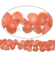 Free shipping!!!Natural Coral Beads,Jewelry For Men, Teardrop, reddish orange, 20x11x5mm, Hole:Approx 0.5mm