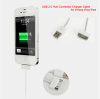Hot! New USB 2.0 3 Ports Hub Sync Connector Charger cable for iPhone iPod iPad Free shipping