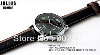 Free Shipping Julius Men's Quartz Watch Sport Fashion Round Leather Band Japan Movement Date JAH-033