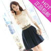 2013 new Autumn women clothing blouses chiffon long-sleeve shirt plus size slim lace shirt women's blouse
