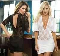 Hot Sale New Fashion Sexy Women Backless Hollow Out Lace Deep V Collar Lingerie Z166