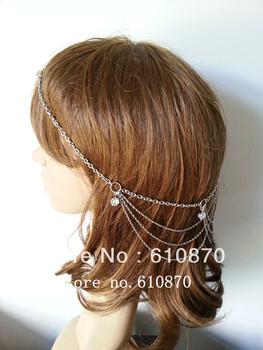 Free shipping Wholesale New BOHO SAYLE Hot Long layer Elegant Rhinestone Hair Cuff Chain Jewelry Head Piece Dress Wedding