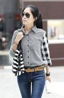 2013 Autumn New Women Button Down Casual Lapel Shirt Irregular Plaid Patchwork Turn-down Collar Long-sleeve Loose Shirt