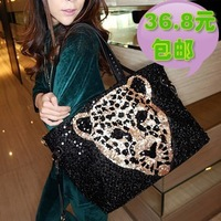 Fashion personality vintage 2013 paillette leopard head women's shoulder bag casual handbag bag motorcycle bag