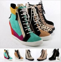 2013 brand wedge sneaker high top height increase  italian woman shoes casual sneakers