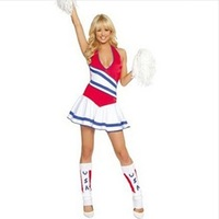 Halter-neck stripe cheerleading jersey costume callisthenics football car  Free shipping