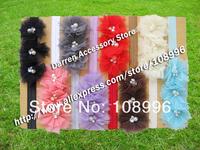 Free shipping 15 Colors Baby Headband for Photography props cute headband mesh flower Headband Peal Flower Headbands 15pcs/lot
