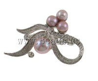 Free shipping!!!Freshwater Pearl Brooch,Wholesale Lot, Cultured Freshwater Pearl, with Brass, Bowknot, purple, 51x36x15mm