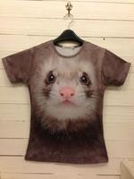 3d stereo male t-shirt owl ferret hole hamster backpack tiger lion pattern female short-sleeve