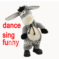 2014 New Big Size Music Shook Head Donkey Electric Donkey Dance Sing Donkey Toy Funny Plush Toy For Children