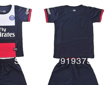 free shipping! children psg soccer jersey  2014 france football sport package cheap uniforms kits