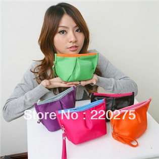 2013 lovely cosmetic bag candy color fashion dumplings small bag women's handbag make up bags