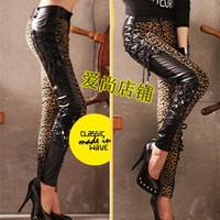 Low-waist leather trousers lady gaga female singer costume skinny pants pencil pants jazz dance