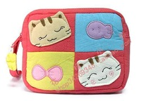 Hj115 cloth cartoon coin purse women's handbag powder blue and red