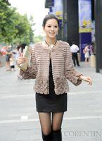 2013 Women's Nature Rabbit Fur Jacket Three Quarter Sleeve with Appliques Female Winter Short Outerwear