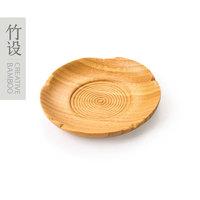 Creative handmade Bamboo product . flower round dish, mini dish, cute tea tray, tableware, bamboo tea plate, wood cup tray