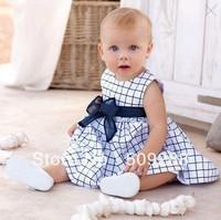 Baby dress Baby clothes Children' sleeve dress Girls baby clothings children's dress Retail Checkered, plaid Bow Belt