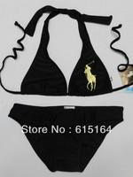 Free Shipping Brand Women Polo Bikinis Black Sexy Swimwear Beach Bikini Summer Bathing Suit