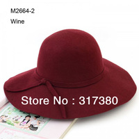 6pcs Special 2014 NEW Women Winter Wide Brim Wool Hats Ladies Floppy Wool Felt Dome Caps Womens Autumn Big Fedoras Cap Spring