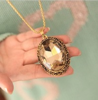 European Style Fashion and Simple big crystal pendant necklace vintage long necklace sweater chain