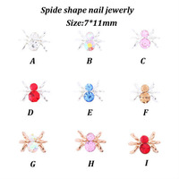 Free Shiiping Newest Items 7x11mm 50pcs/pack 9 Colors of  Spider Shape 3D Nail Art  Rhinestones Metal Alloy Nail Supplies YY-817