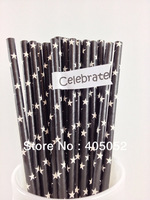 Black  White  Star Printed Paper Party Drinking Straws Black Star 500pcs