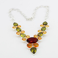 High Quality Fashion Bohemian Natural Stone 925 Sterling Silver Bijou Crystal Stone Chunky Choker Necklace Wedding Jewelry x3690