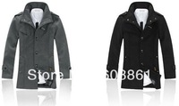 Top quality men fashion discount winter pea coats with hood stylish 90% wool free shipping