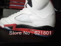 2013 early release AJordan 5 retro 5 generations of white flame red basketball shoes for real.136027-120