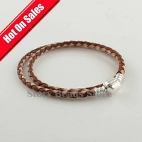 Free Shipping 925 Sterling Silver Clasp Clips Brown Leather Bracelet Chain, Compatible With Pandora Style Bracelet PL006-L