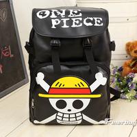 Mens Stylish Cool Japanese Anime One Piece Pirates Logo Luffy Cartoon Leather school bag backpack laptop bag