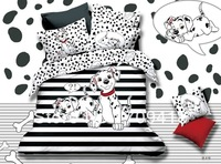 Hot Beautiful 100% Cotton 4pc Doona Duvet QUILT Cover Set bedding set Full / Queen/ King size 4pcs cartoon white black dog