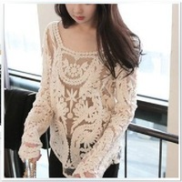 free shipping  women's three-dimensional Hook flower crotch lace hollow out  lace long-sleeve shirt top shirt