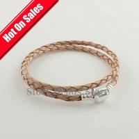 Fashion 925 Sterling Silver Clasp Orange Long Leather Bracelet DIY Jewelry, Compatible With Pandora Style Bracelet