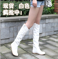 High-leg boots flat heel boots white female spring and autumn boots flat boots with a single autumn and winter black auburn 7