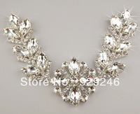 free shipping 1 pc 7*34cm long flower clear crystal glass rhinestone applique bridal wedding evening dress waist collar sewing