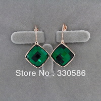 Italina retro big box green crystal earrings 18K gold plated high grade super flash earing female ear Accessorie