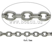 Free shipping!!!Stainless Steel Chain,Jewelry For Men, oril color, 6x4.50x1.20mm, Length:100 m, Sold By Lot