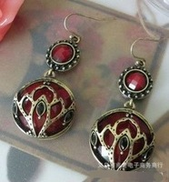 2013 Fashion bijoux jewelry .Carve patterns or designs on woodwork ruby   stud  earrings.J041