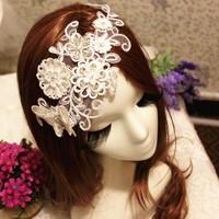 Lace crystal hair accessory luxury bride hair accessory wedding accessories the wedding butterfly hair accessory hairpin