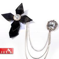Cross brooch vintage rock wind male double chain tassel quality brooch badge epaulette