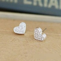 2013 Fashion bijoux jewelry .Drill full love   stud  earrings.J046
