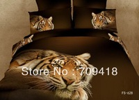 Hot Beautiful 100% Cotton 4pc Doona Duvet QUILT Cover Set bedding set Full / Queen/ King size 4pcs animal Thinking Tiger FS-628