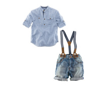 Wholesale (5set/Lot ) Baby Girls Clothes Suits Kids Boy casual denim suspender straps suit 2pcs suit Dress Shirt + Short Suits