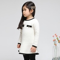 2014 new autumn children clothing korean pure color kids cotton long sleeve cotton-padded dress, child quilted dresses for baby