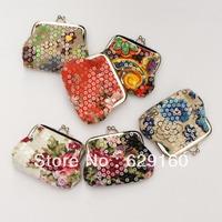 Holiday gift sequins canvas cloth Wallet Coin Purses metal hasp key bag
