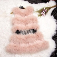 Fur wool 2013 turkey ostrich wool patchwork leather design long fur vest